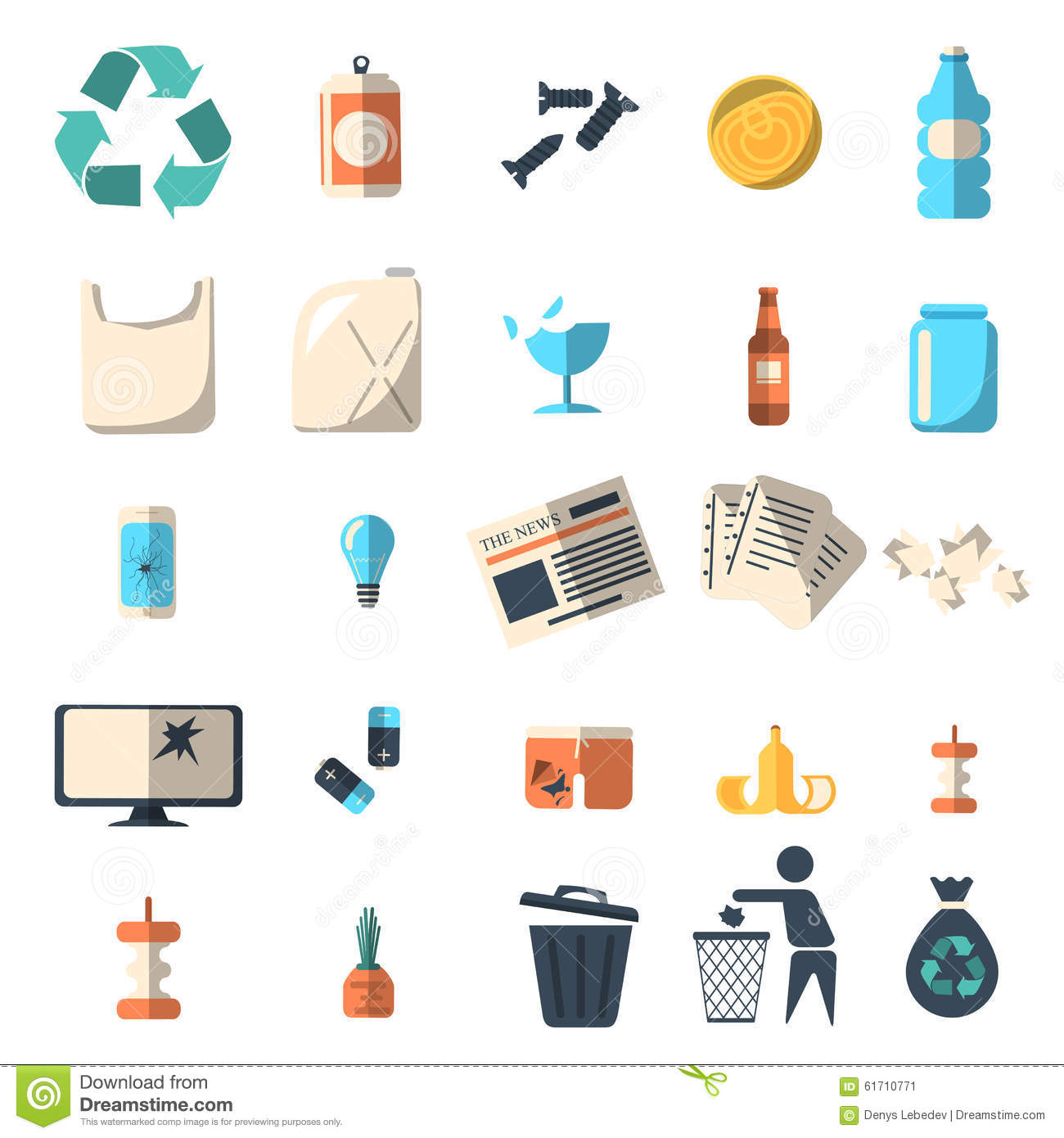 Waste sorting and recycling isolated symbols editorial for Waste material items