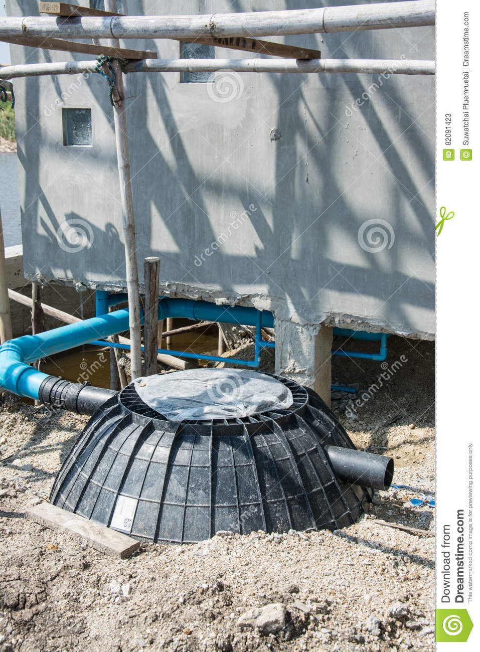 Waste Treatment Tank Or Septic Tank Installation In