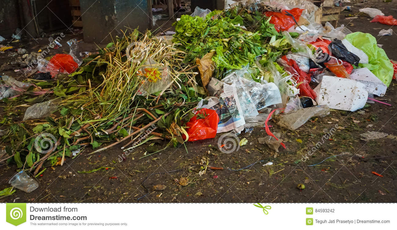 Waste of vegetables on a corner of a traditional market in Jakarta Indonesia