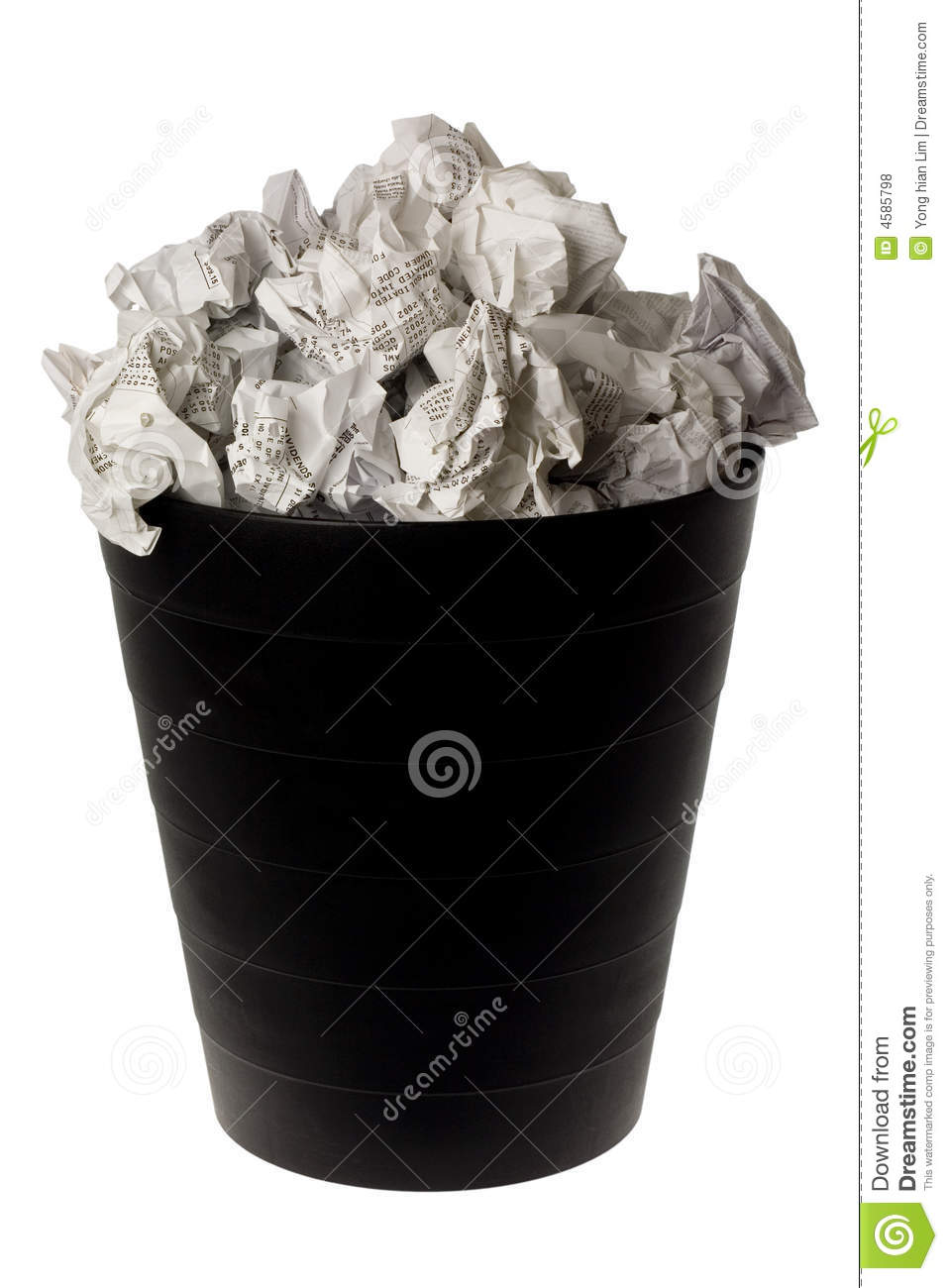 Wastepaper Basket wastepaper basket full of crumpled paper royalty free stock photos