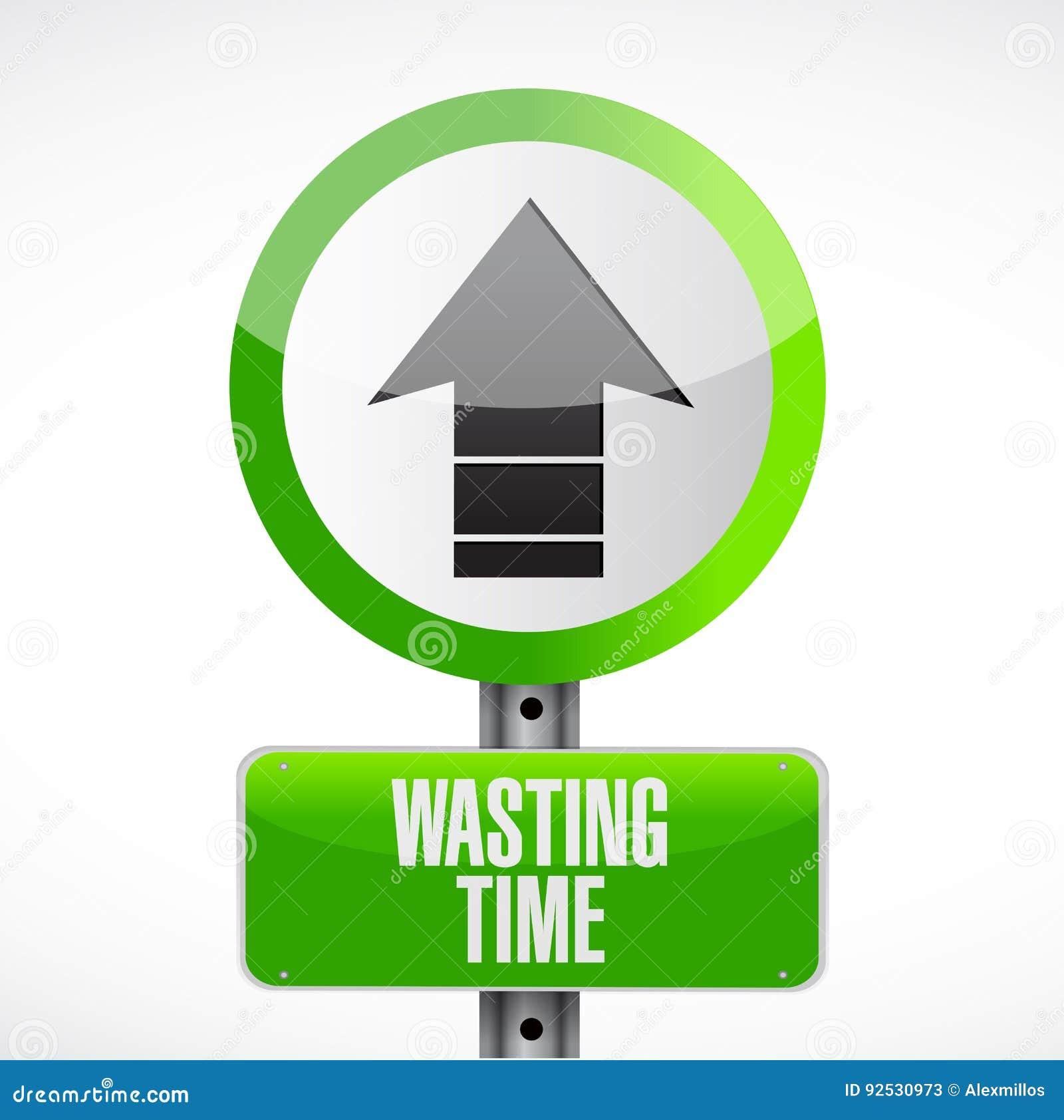 Wasting time road sign concept illustration