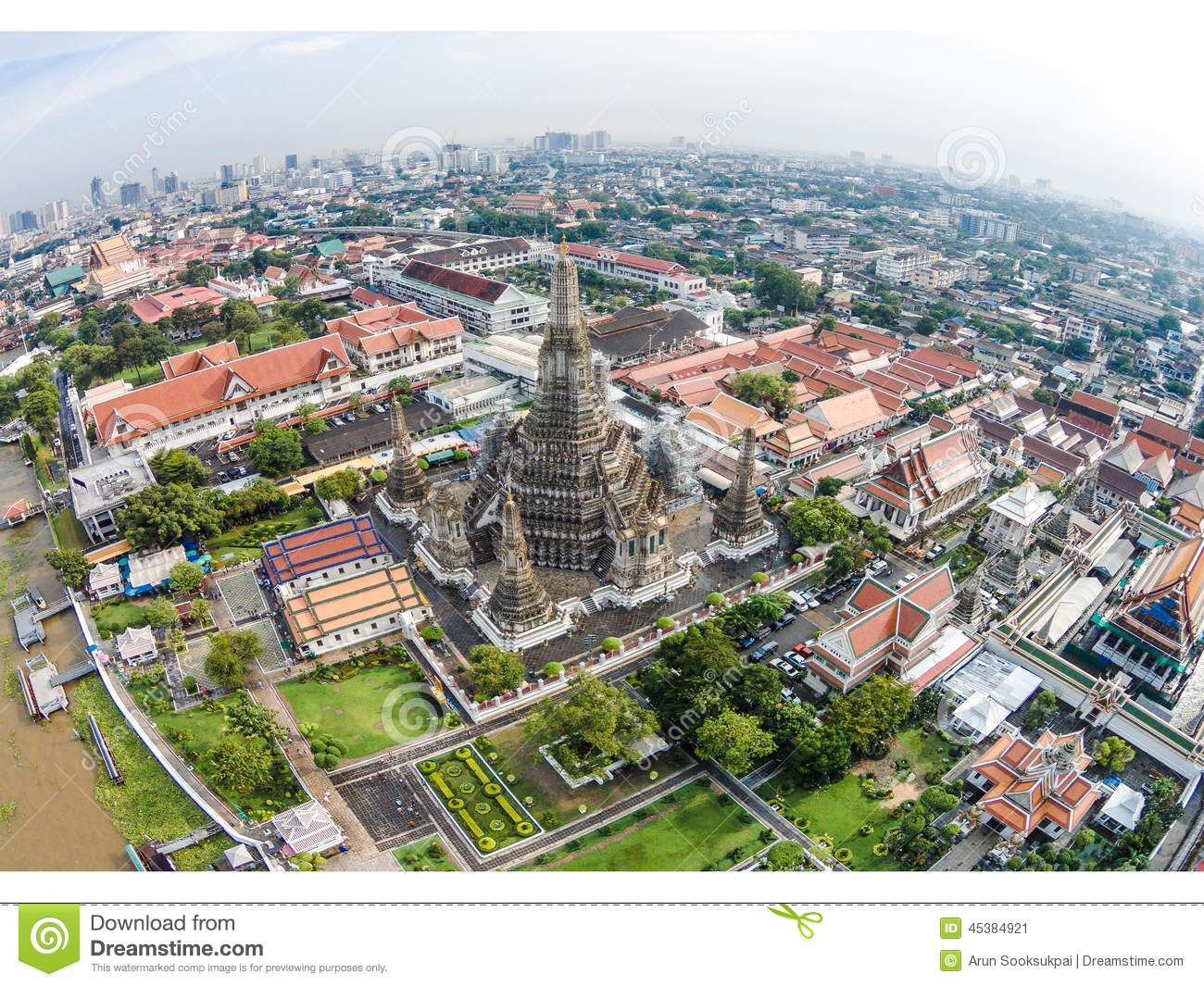 wat arun temple and chao phraya riverside in bangkok thailand editorial photo image 45384921. Black Bedroom Furniture Sets. Home Design Ideas