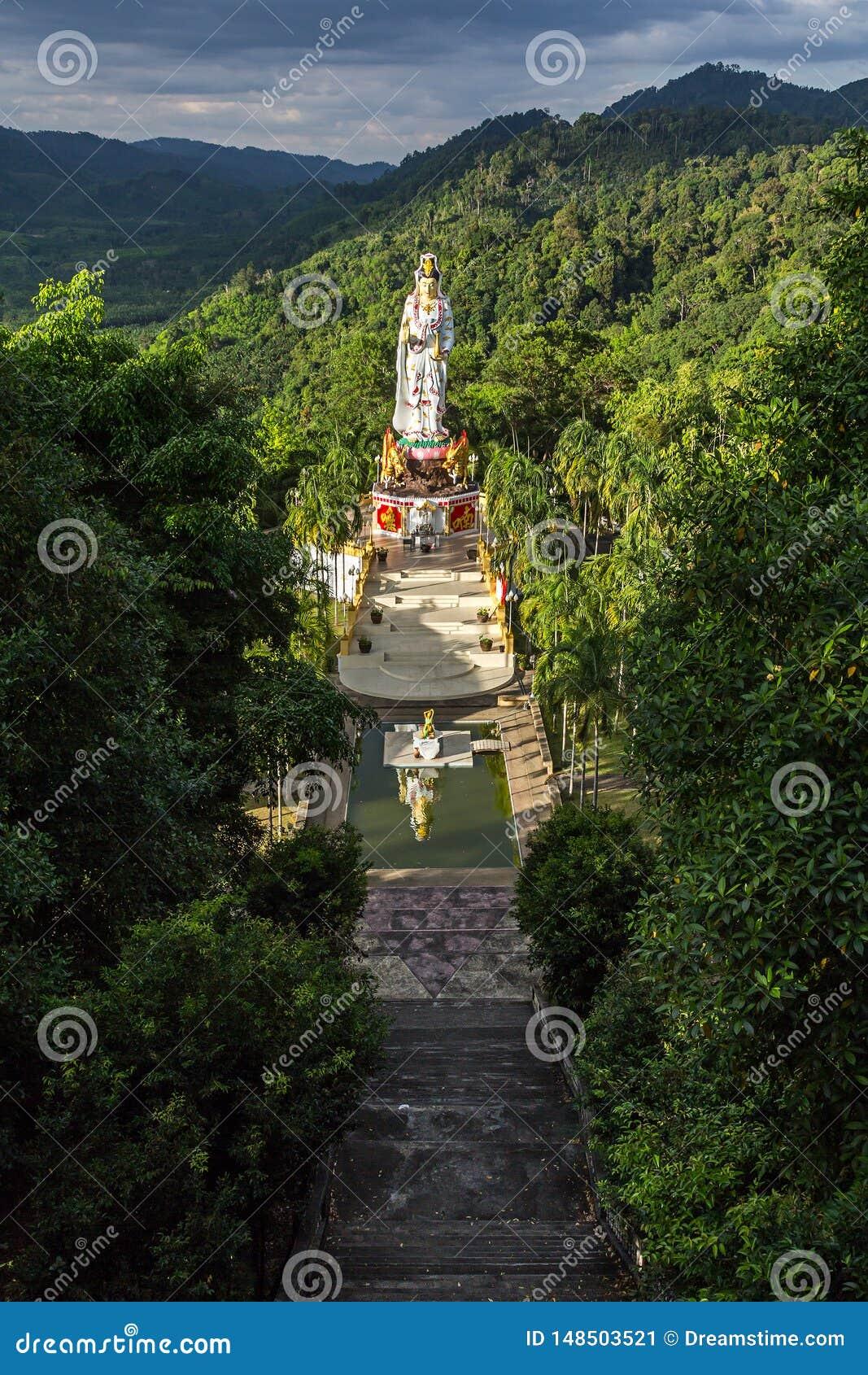 The statue of goddess Guan Yin in Wat Bang Riang in Thailand