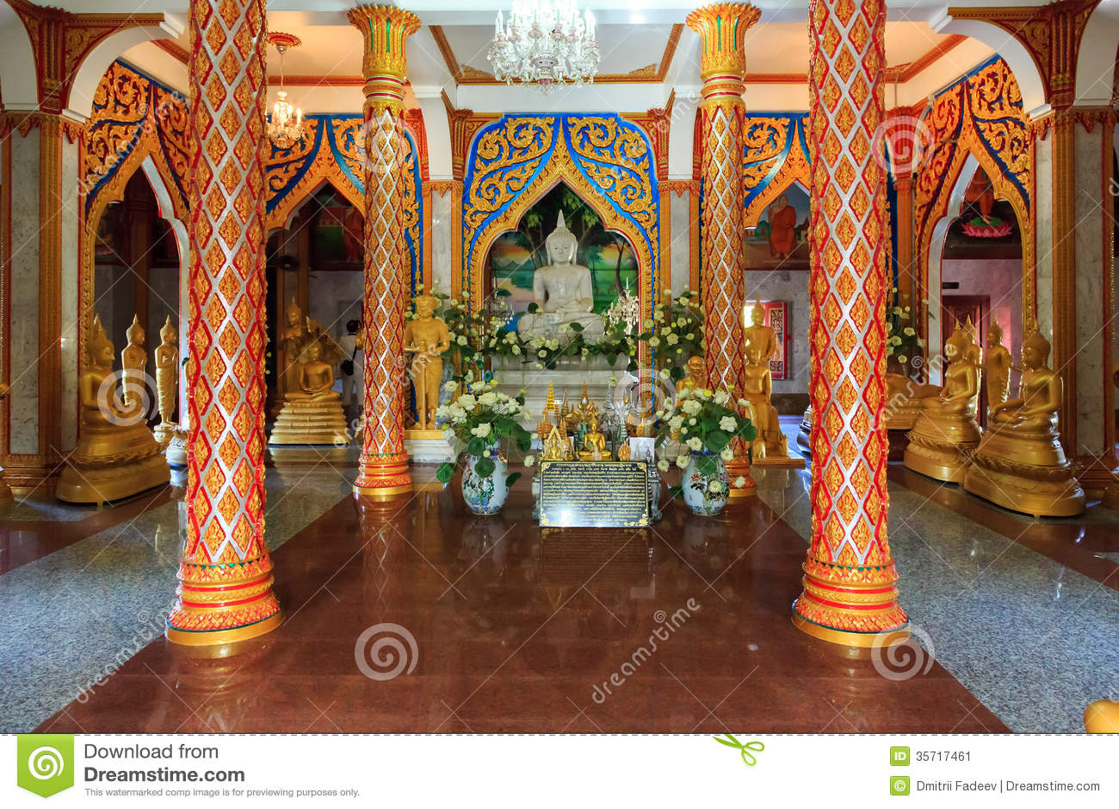 Wat Chalong Temple At Sunny Day Phuket Thailand Stock