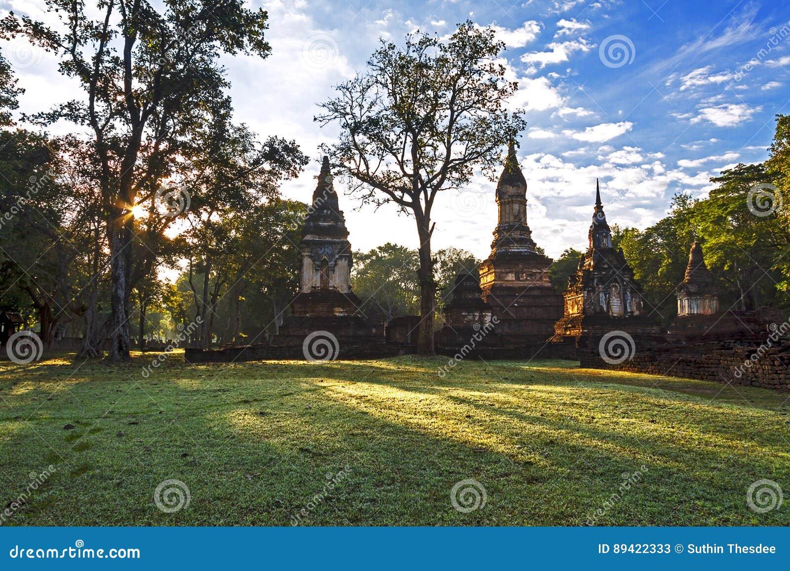 Wat Chedi Chet Thaeo e luz solar que moning