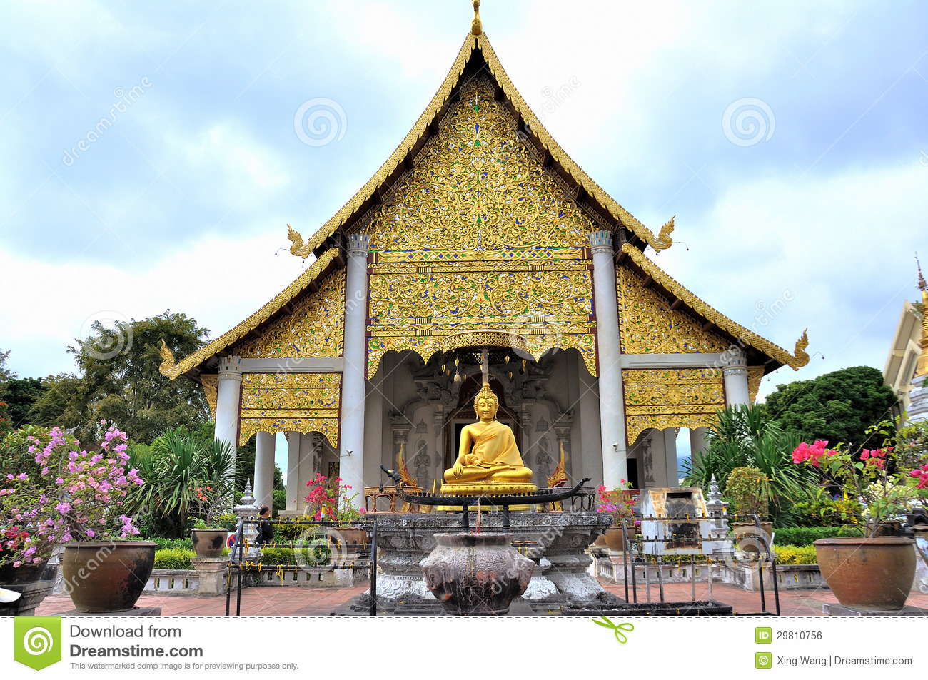 Temple At Wat Chedi Luang Royalty Free Stock Image - Image ...