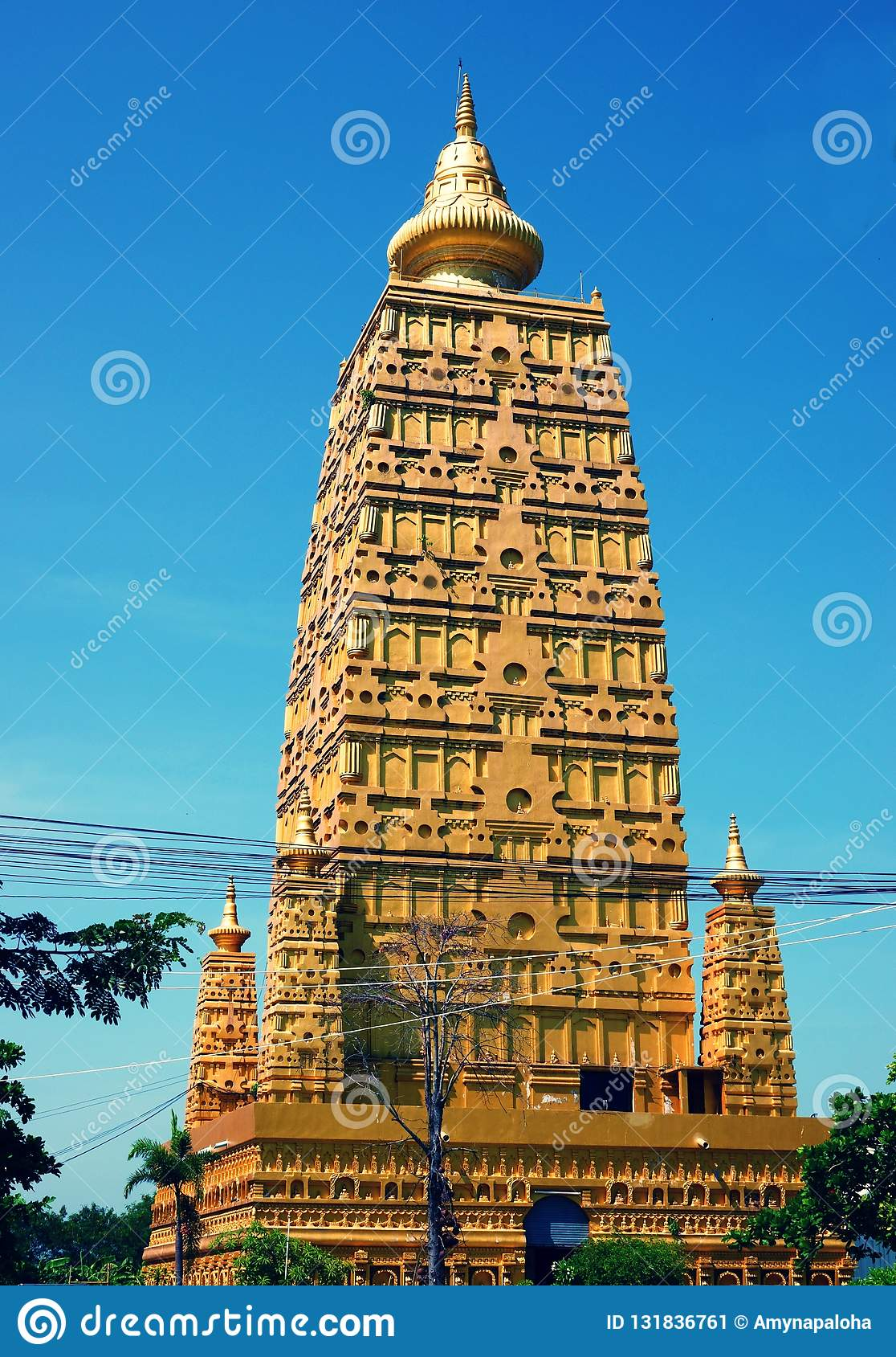 Wat Chom Phothayaram,Sothon,Mueang Chachoengsao District,thailand 4 november 2018 Thot Kathin in thailand chedi temple