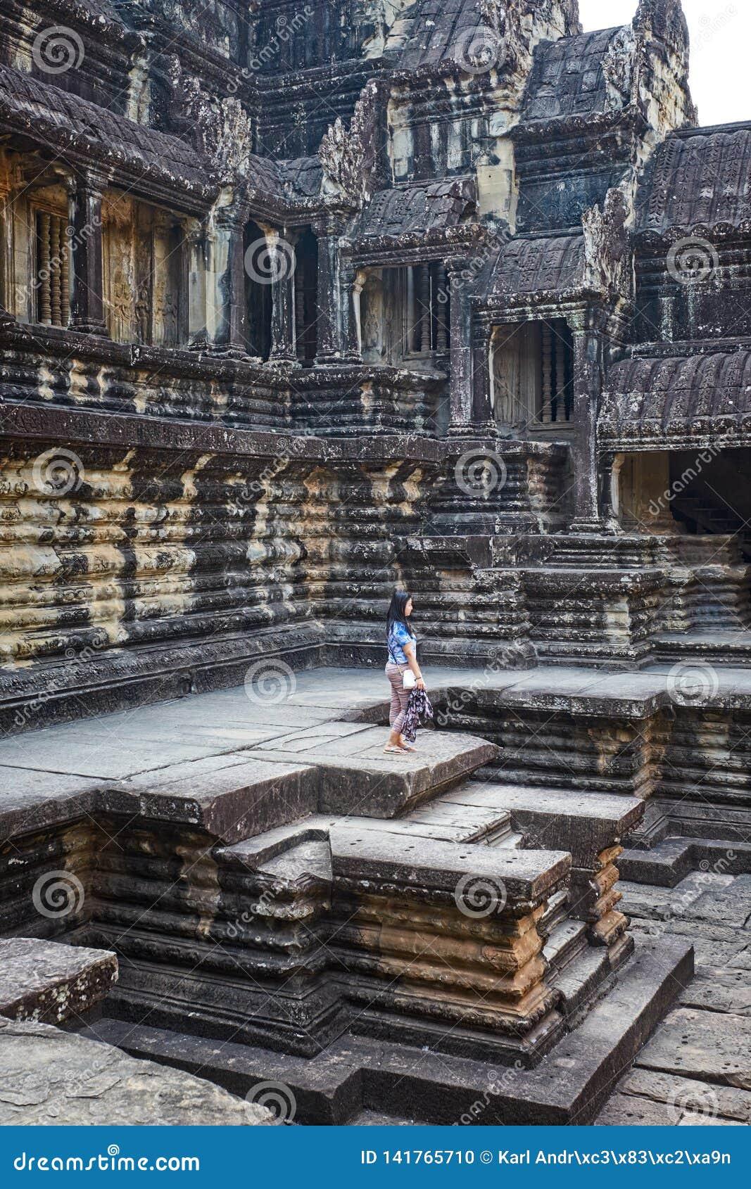 Wat för angkorcambodia tempel