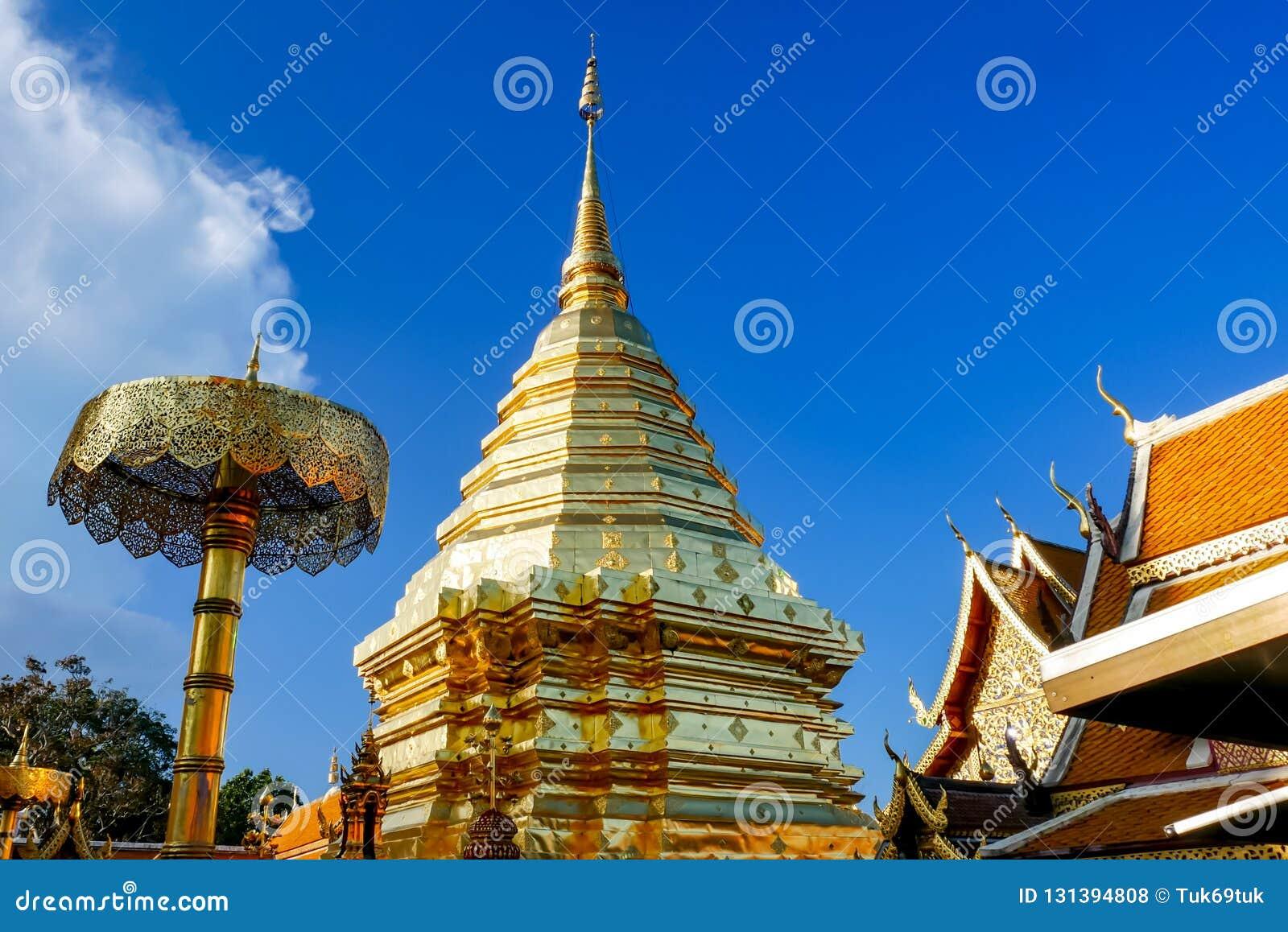 Wat Phra That Doi Suthep är den turist- dragningen av Chiang Mai, Thailand askfat