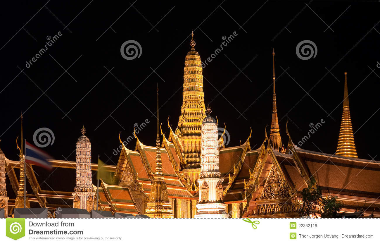 Wat Phra Kaew In Bangkok At Night Royalty Free Stock ...