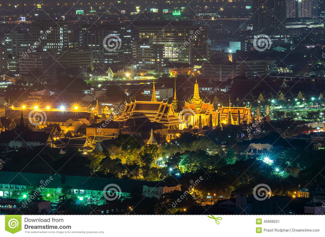 Wat Phra Kaew At Night , Bangkok, Thailand. Stock Photo ...