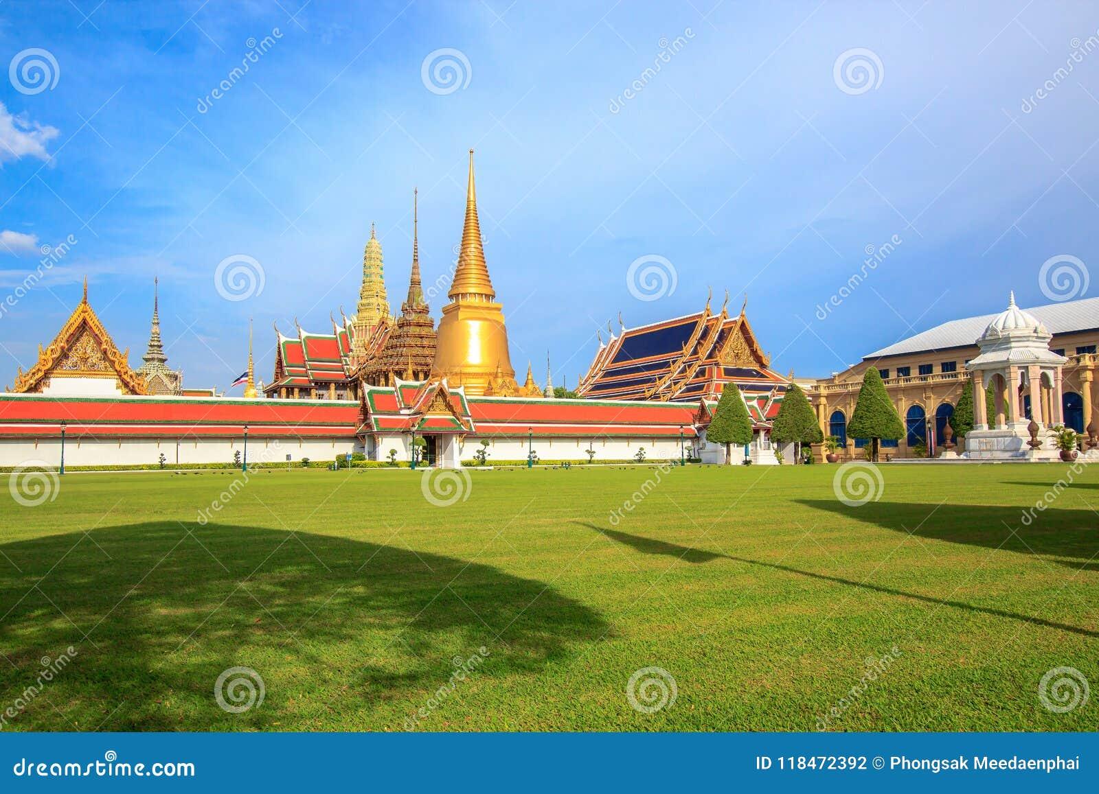 Wat Phra Kaew, Tempel van Emerald Buddha bepaalt van in Bangkok, Thailand de plaats