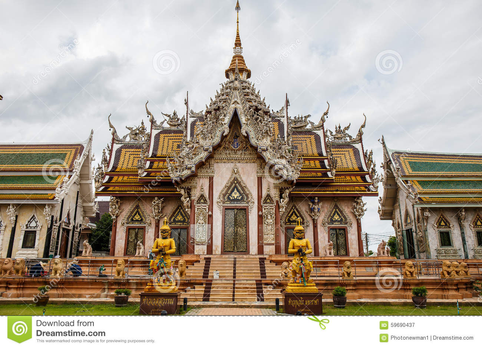Wat Phra Rahu Temple Nakhon Pathom Stock Photo