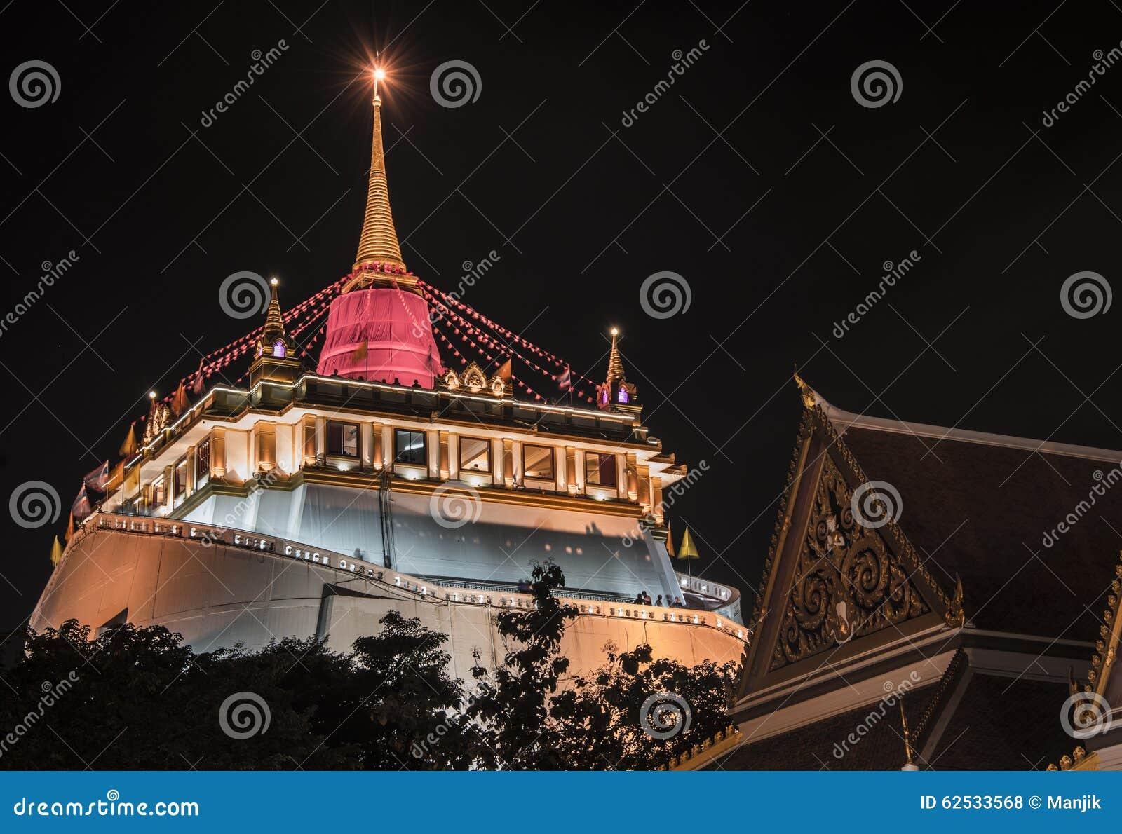 Wat Saket寺庙在曼谷