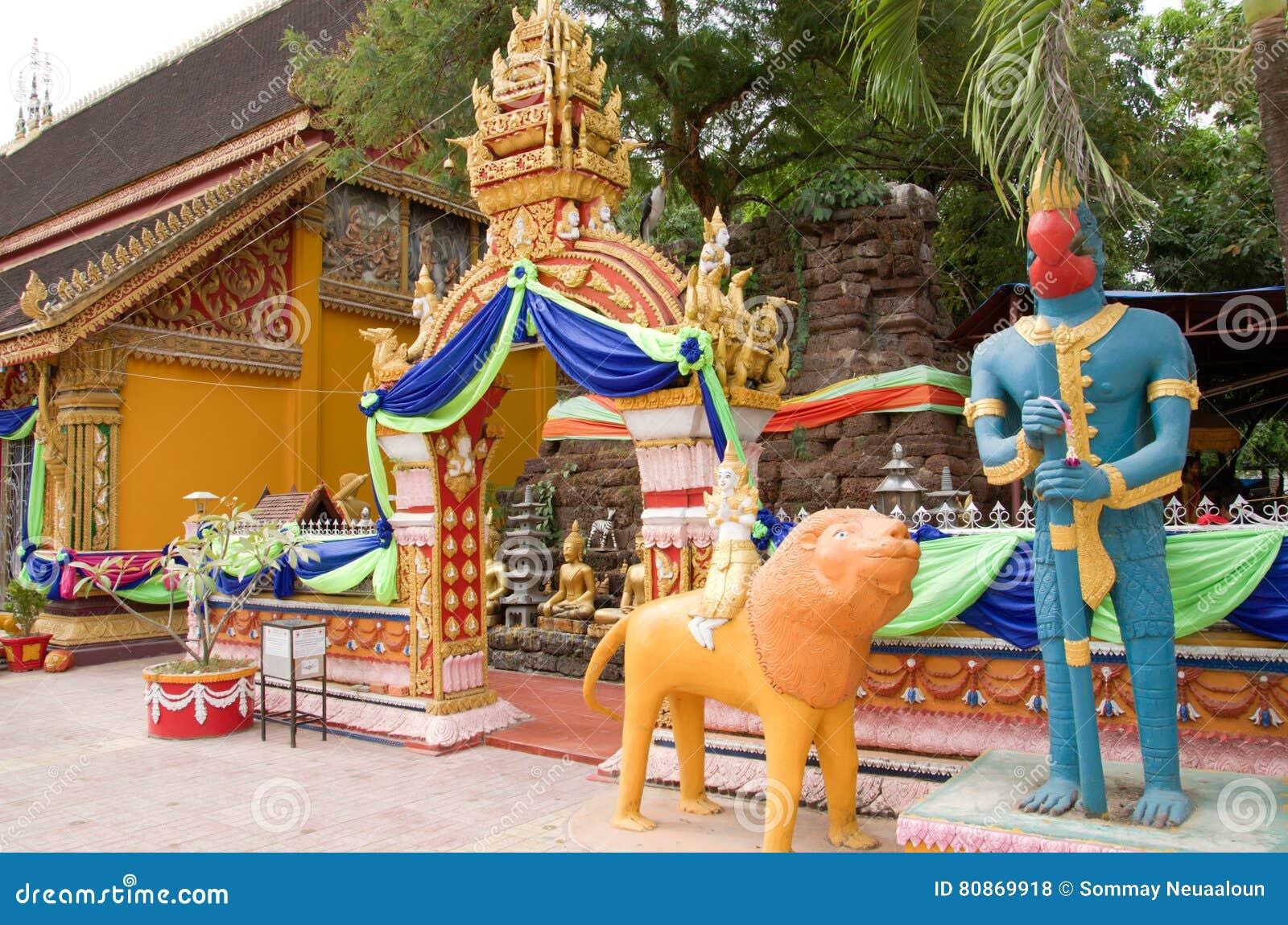 Wat Si Muang lub Simuong jest Buddyjskim świątynią lokalizować w Vientiane kapitał Laos