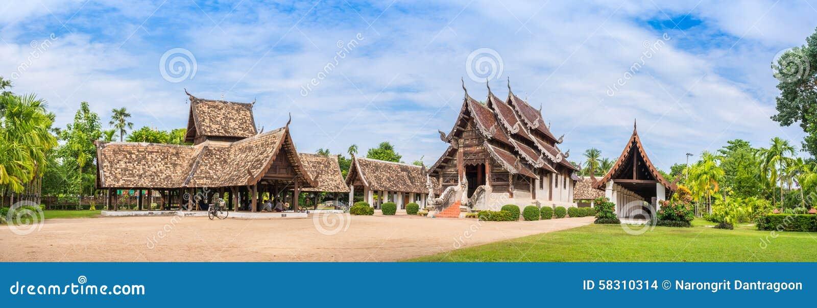 Wat Ton Kain, vecchio tempio fatto da legno in Chiang Mai Thailand
