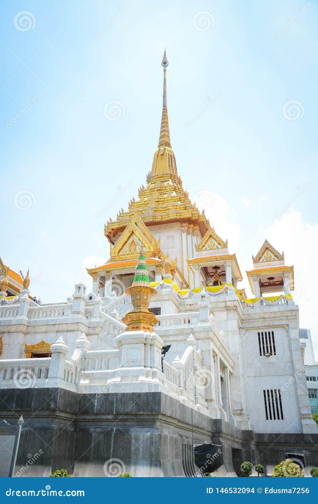 Wat Traimit佛教寺庙在曼谷,泰国