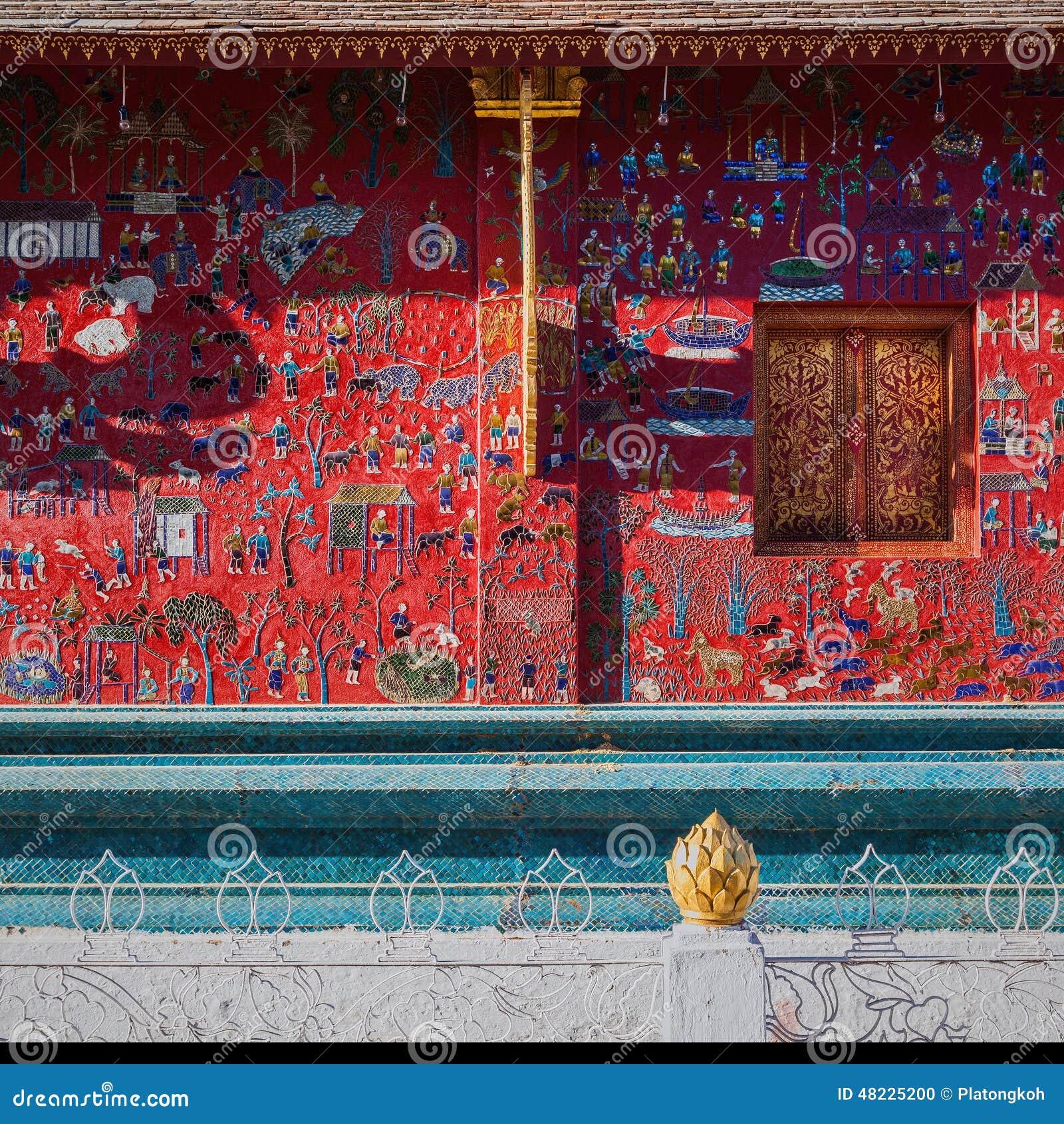 xieng福_wat xieng皮带寺庙墙壁,琅勃拉邦,老挝.