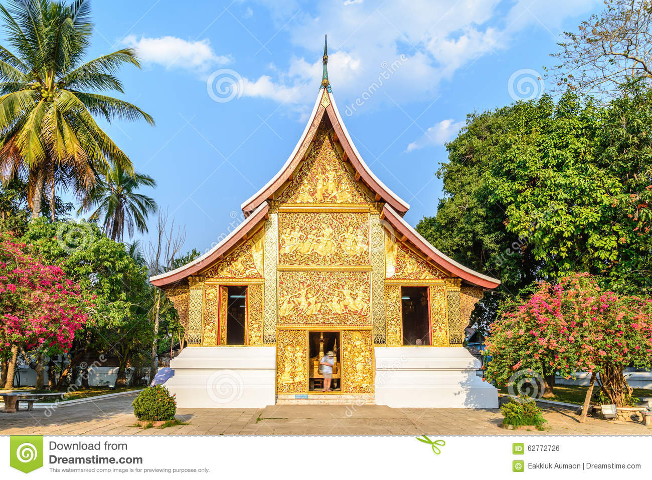 Buddha Decorations For The Home Wat Xieng Thong Temple In Luang Prabang Royalty Free Stock