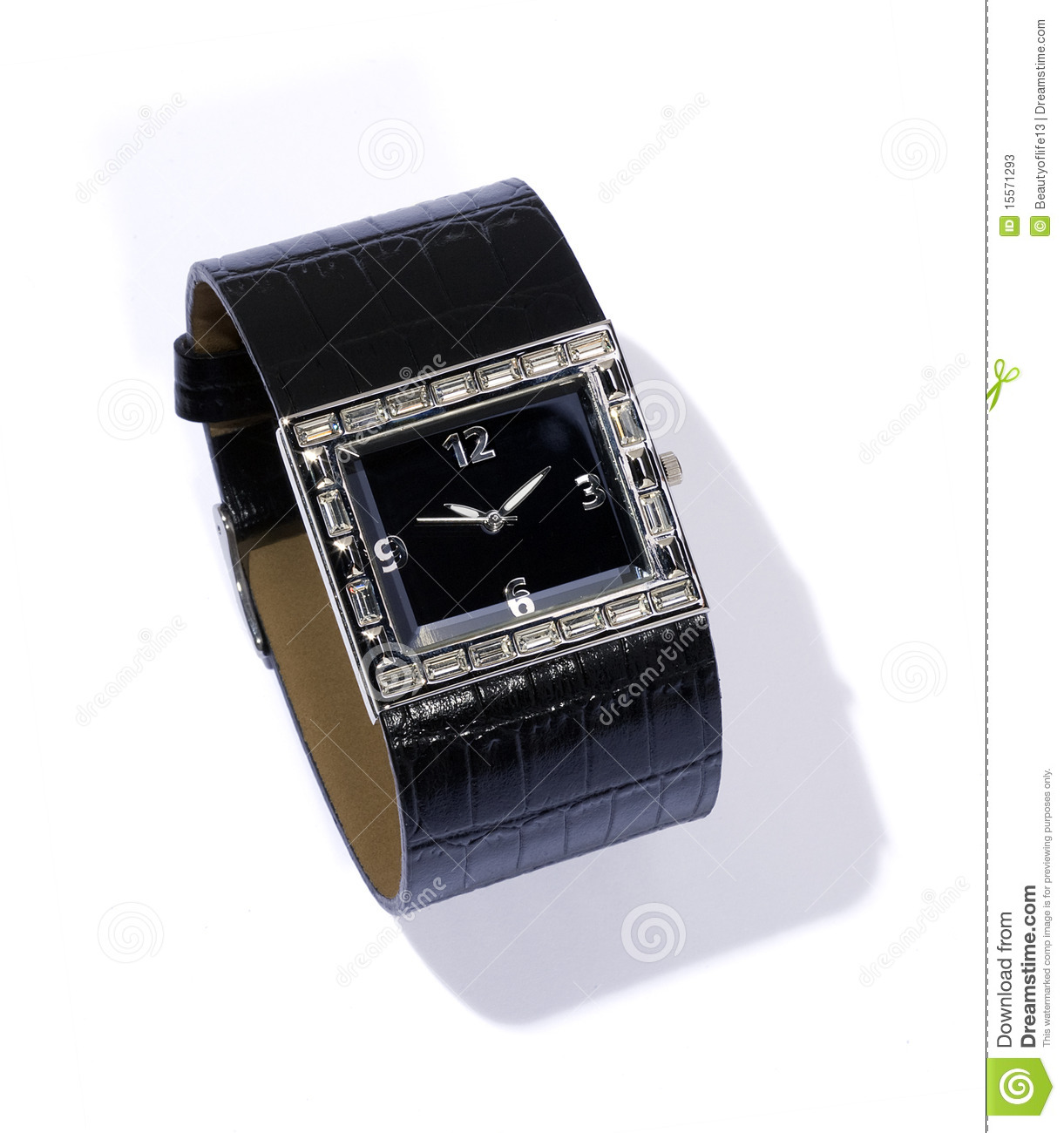 Watch with black leather bracelet