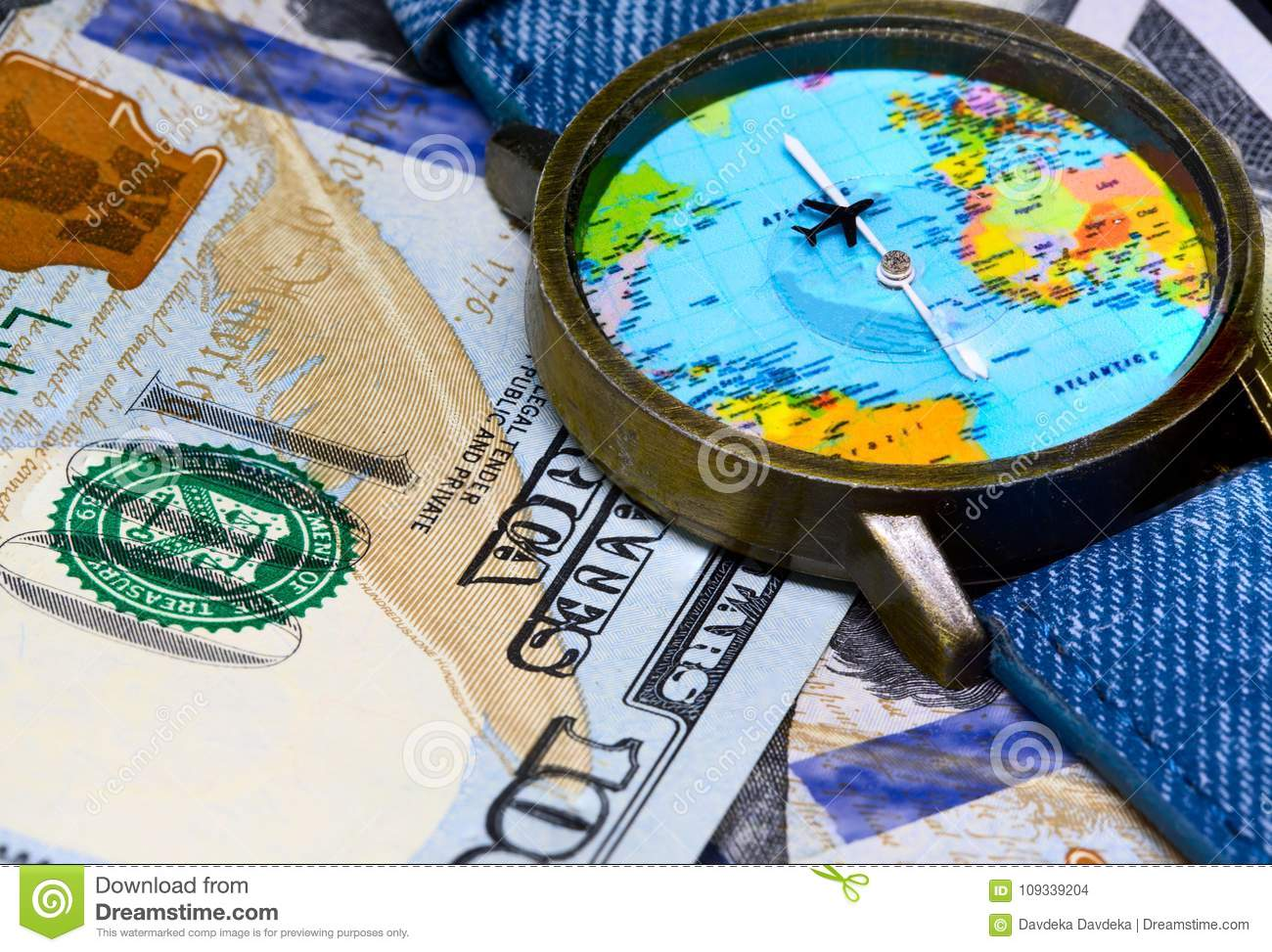 Watch With Global Map On Cash Money. World Map Clock. Worldwide ...
