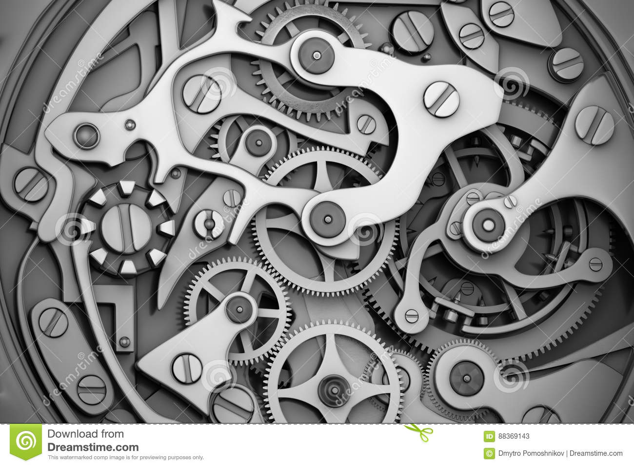 Watch Machinery With Gears Grayscale Stock Illustration ...