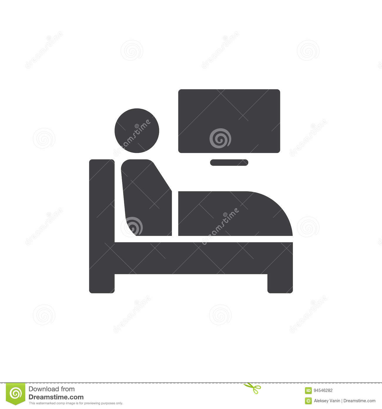 Bed Icon Vector, Filled Flat Sign, Solid Pictogram ...