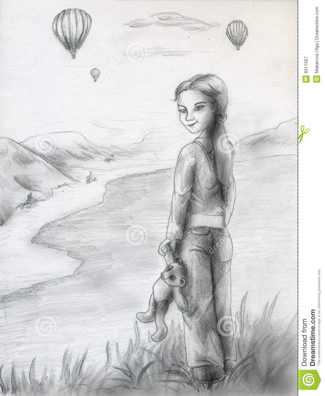 Girl with teddy bear invites you to watch hot air balloon show from the hill pencil drawing