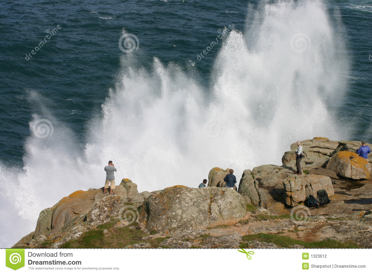 Watching a spectacular sea spray