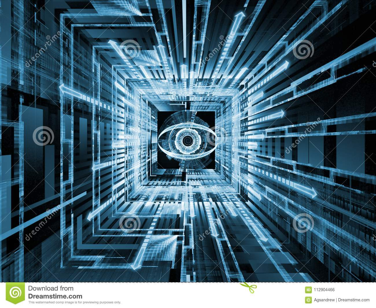 Watching spirit stock illustration illustration of backdrop 112904466 3d illustration of symbol of an eye motion trails and fractal patterns for use with projects on information technology security privacy communications biocorpaavc Images