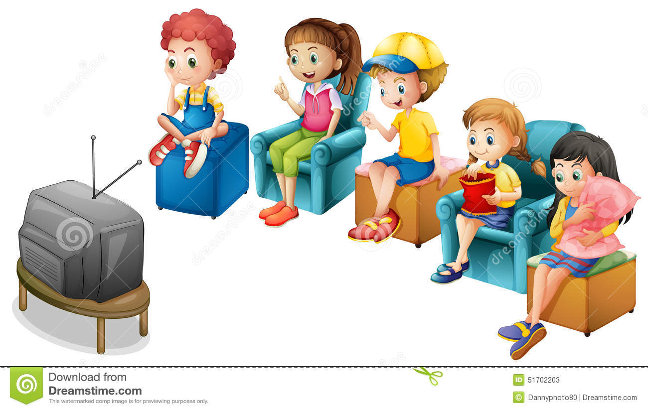 Watching Tv Stock Vector Illustration Of Graphic