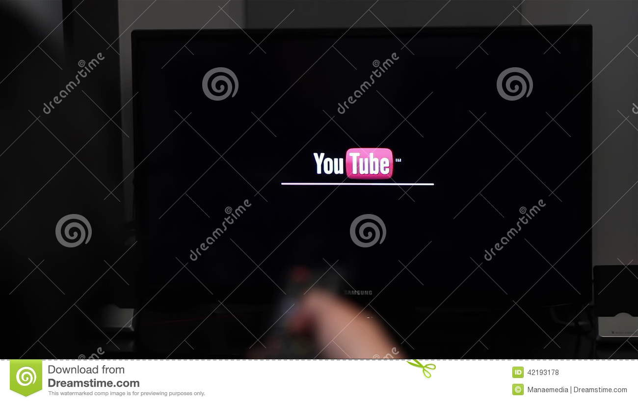 Watching YouTube On Smart Tv Stock Footage - Video of human, crystal