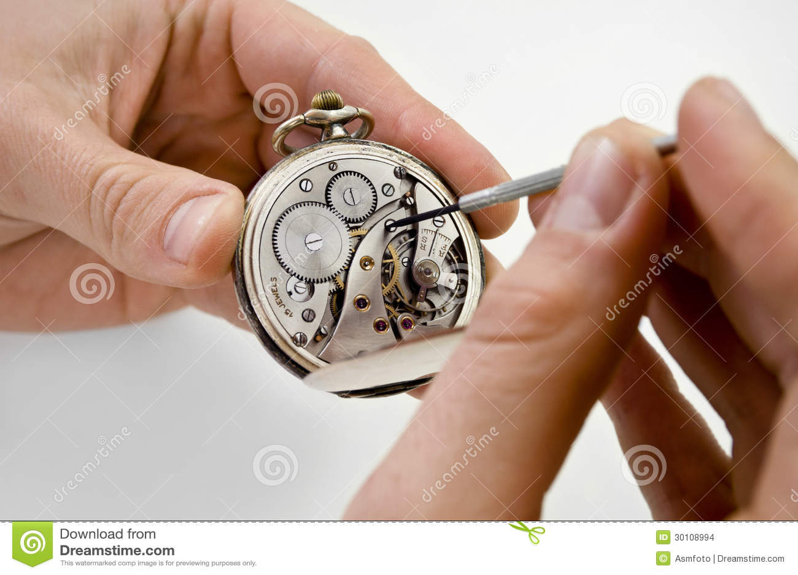 Pocket watch repair. stock photo. Image of old, metal ...
