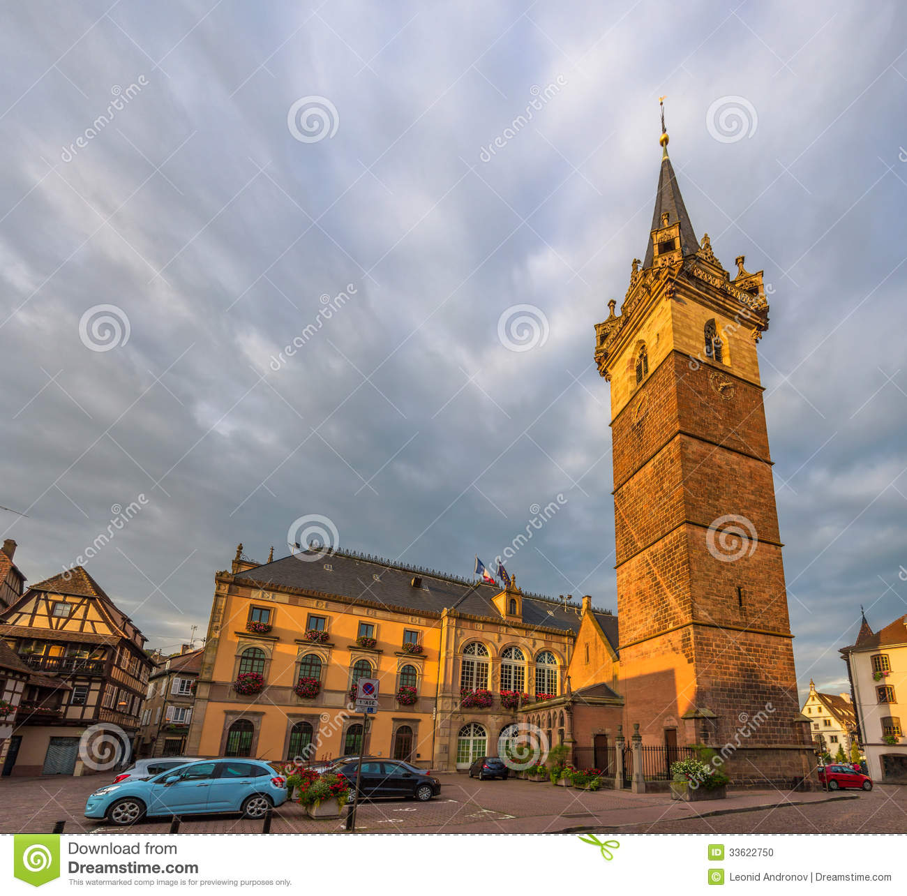 Watchtower and city hotel in obernai france stock photo for Designhotel elsass