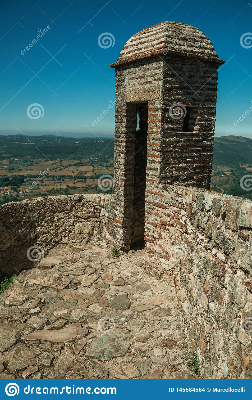 Watchtower made of bricks and wall at the Marvao Castle