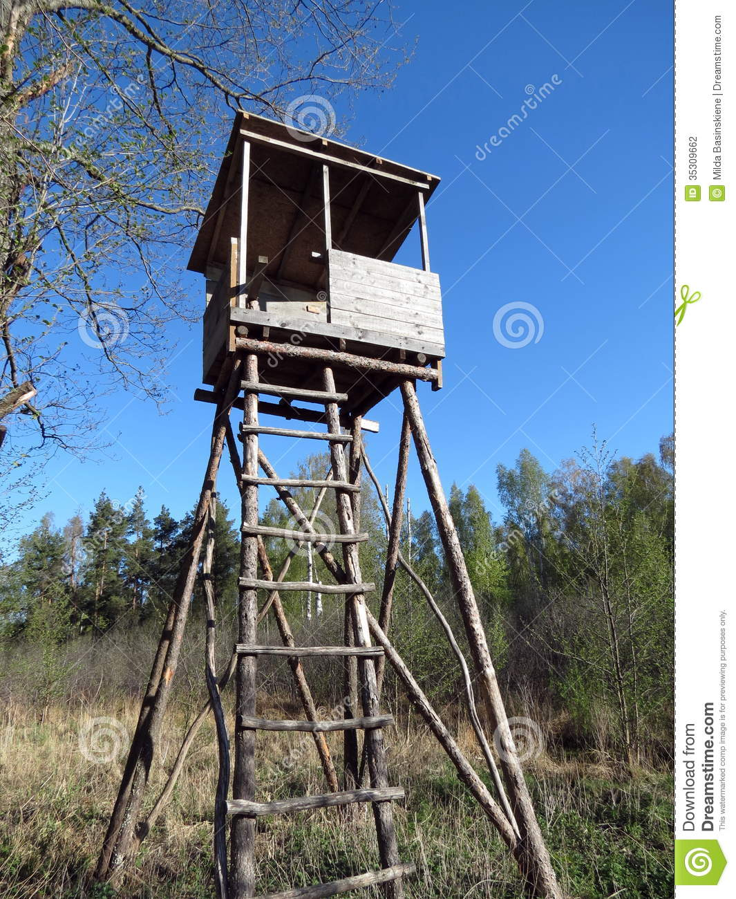 Wooden Plank Ladder Devils Tower ~ Watchtower stock photography image