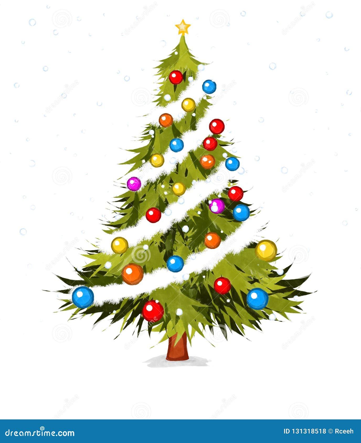 Watecolor Christmas Tree Stock Illustration Illustration Of