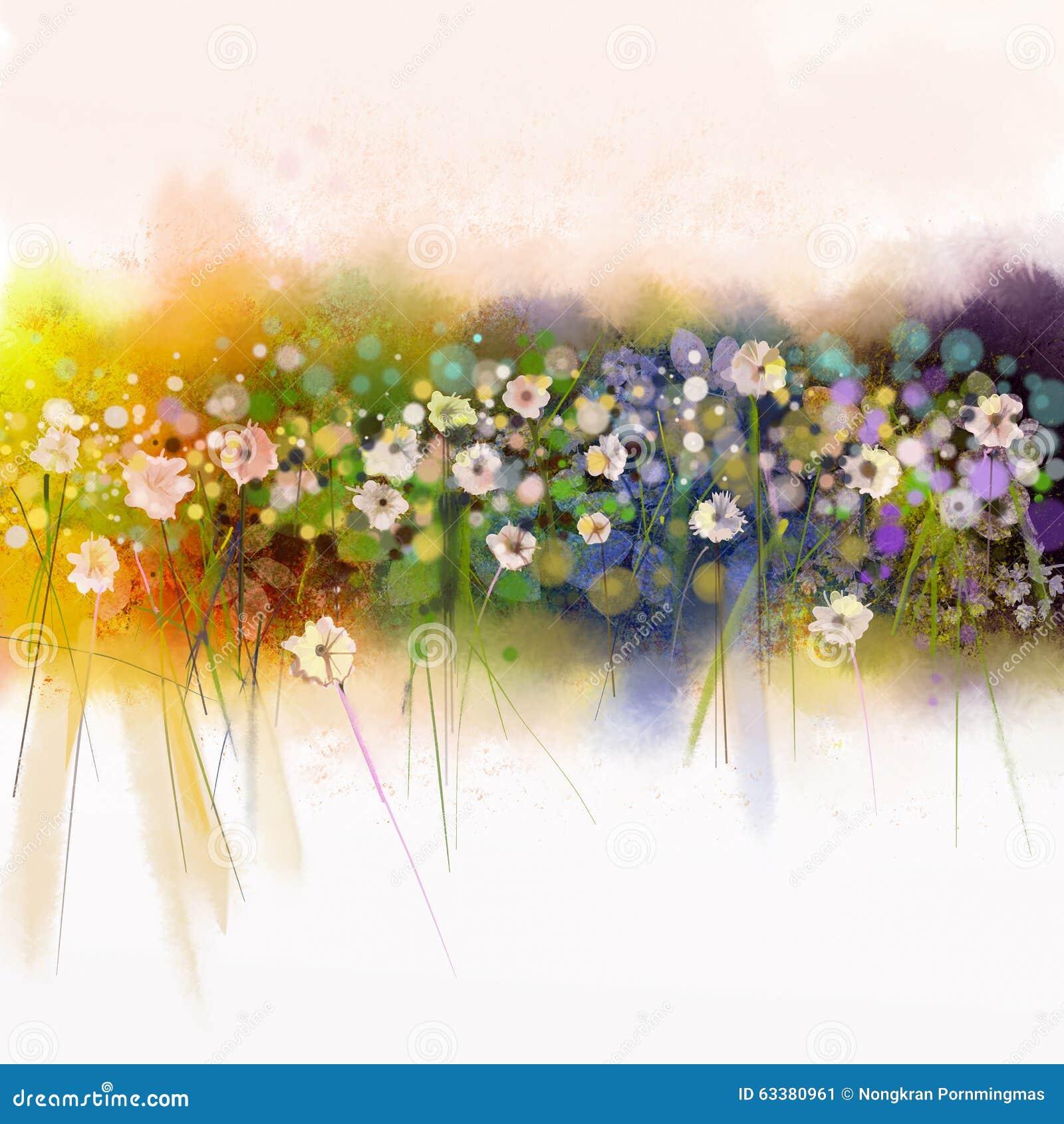 Watecolorflowers painting spring seasonal nature for Spring flowers watercolor