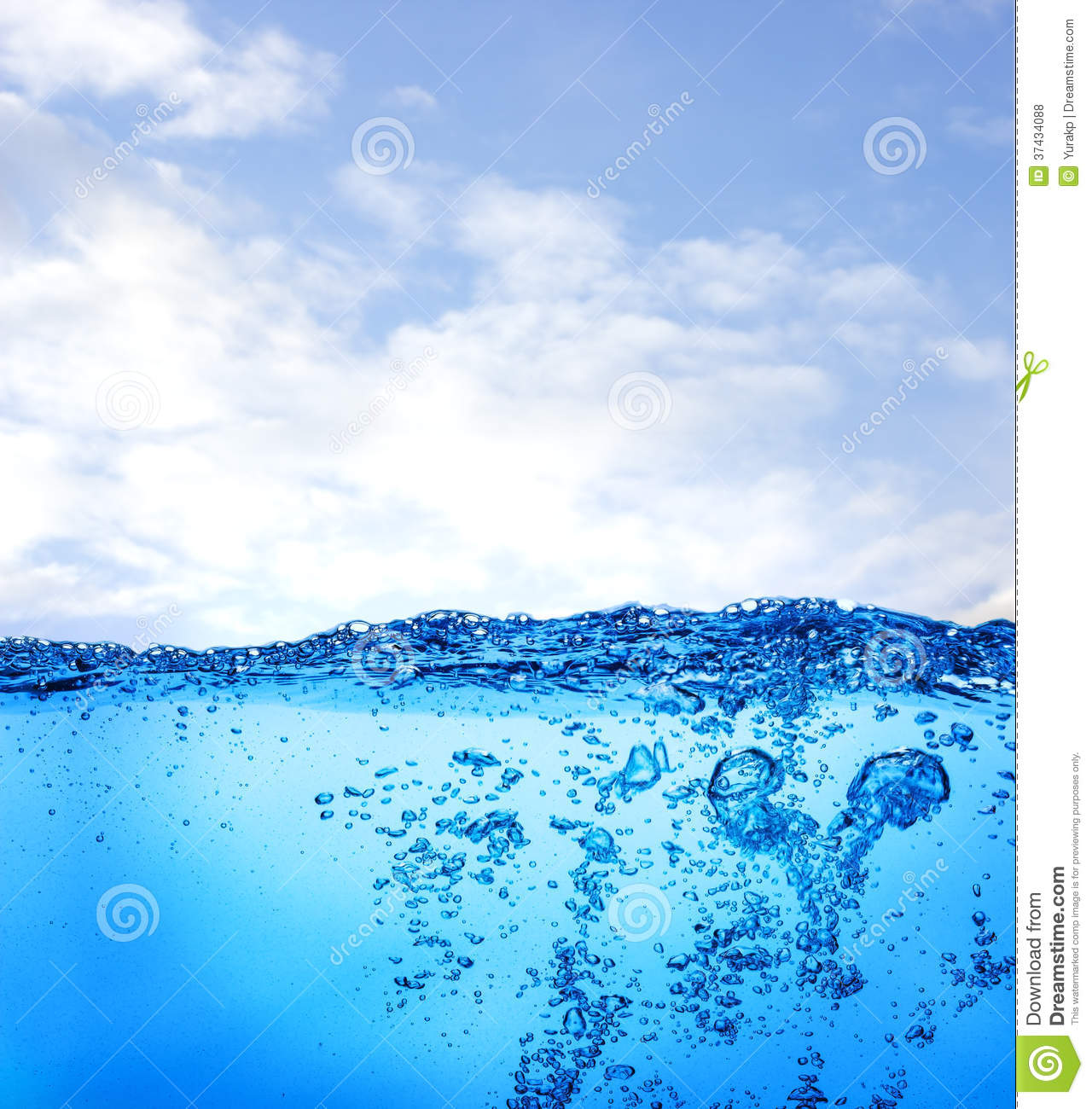 Water And Air Bubbles Over Sky Background Royalty Free ...