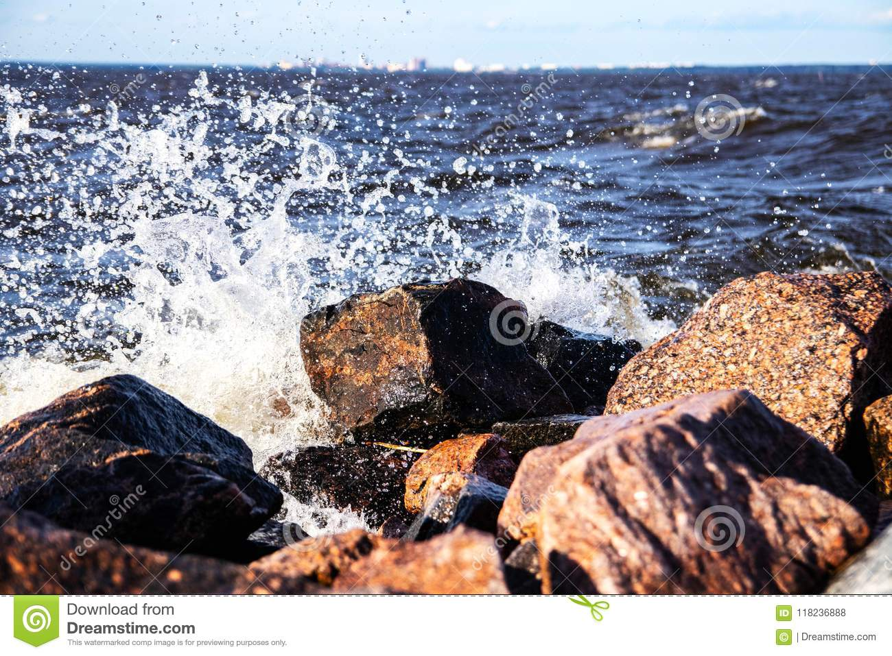 Water attacks a stone