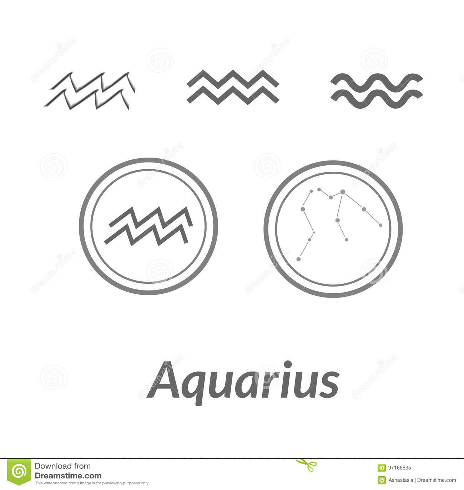 The Water Bearer Aquarius Sing Star Constellation Vector Element