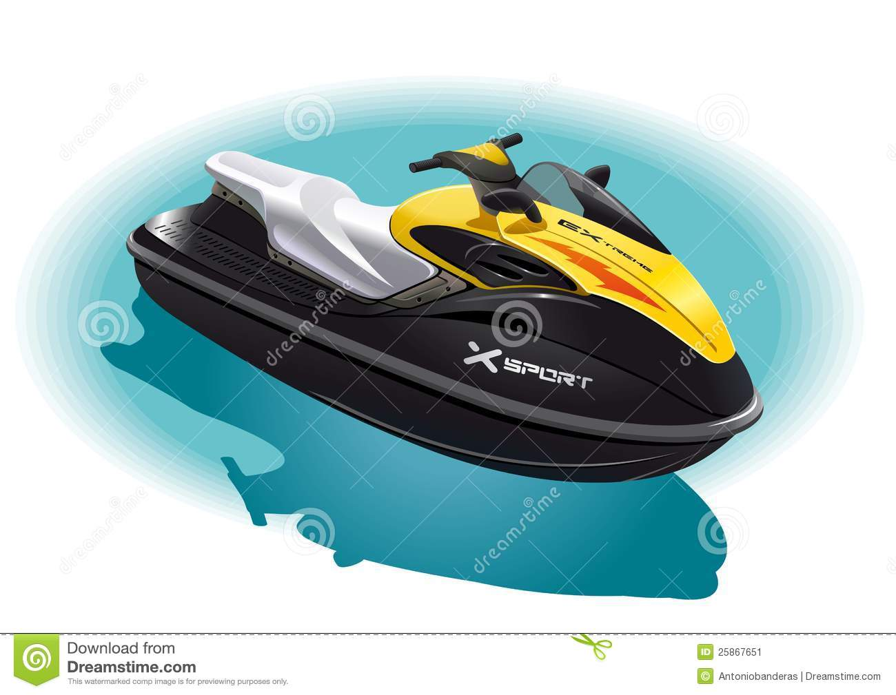 Illustration of the water bike for an unforgettable ride on the sea.