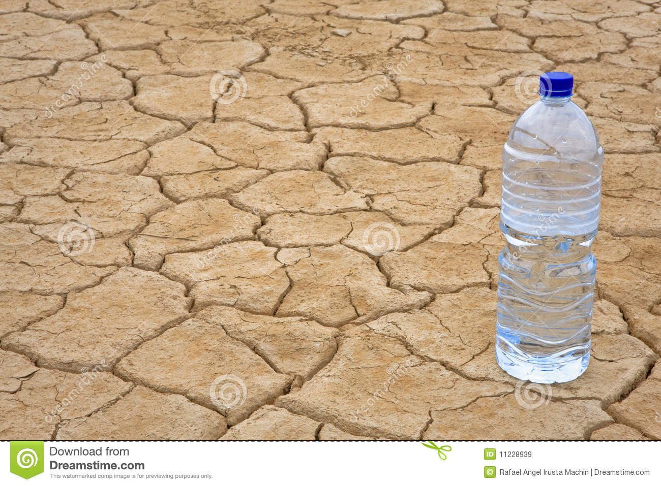 Water bottle on dry ground stock image. Image of ...