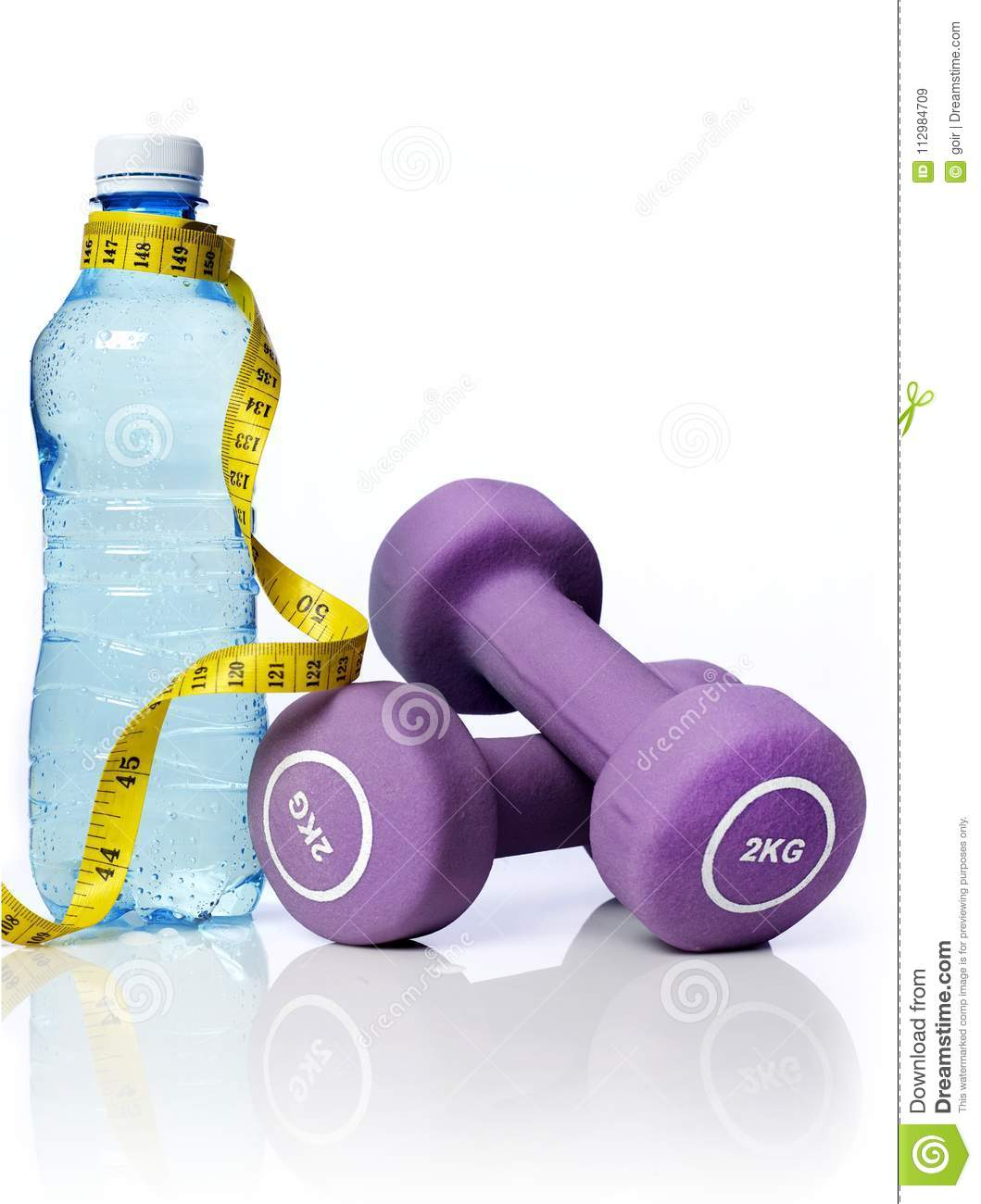 Water bottle and dumbbells