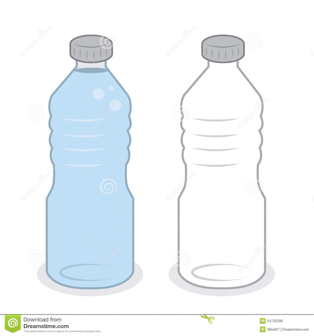 Water Bottle Empty Full Stock Vector - Image: 54735296