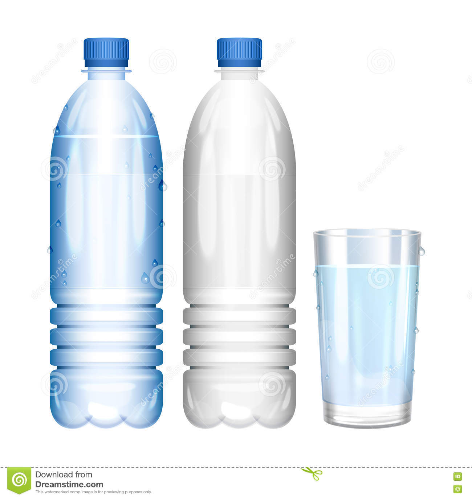 Water Bottle Vector: Water In Bottle. Glass Of Pure Water. Empty Bottle. Vector