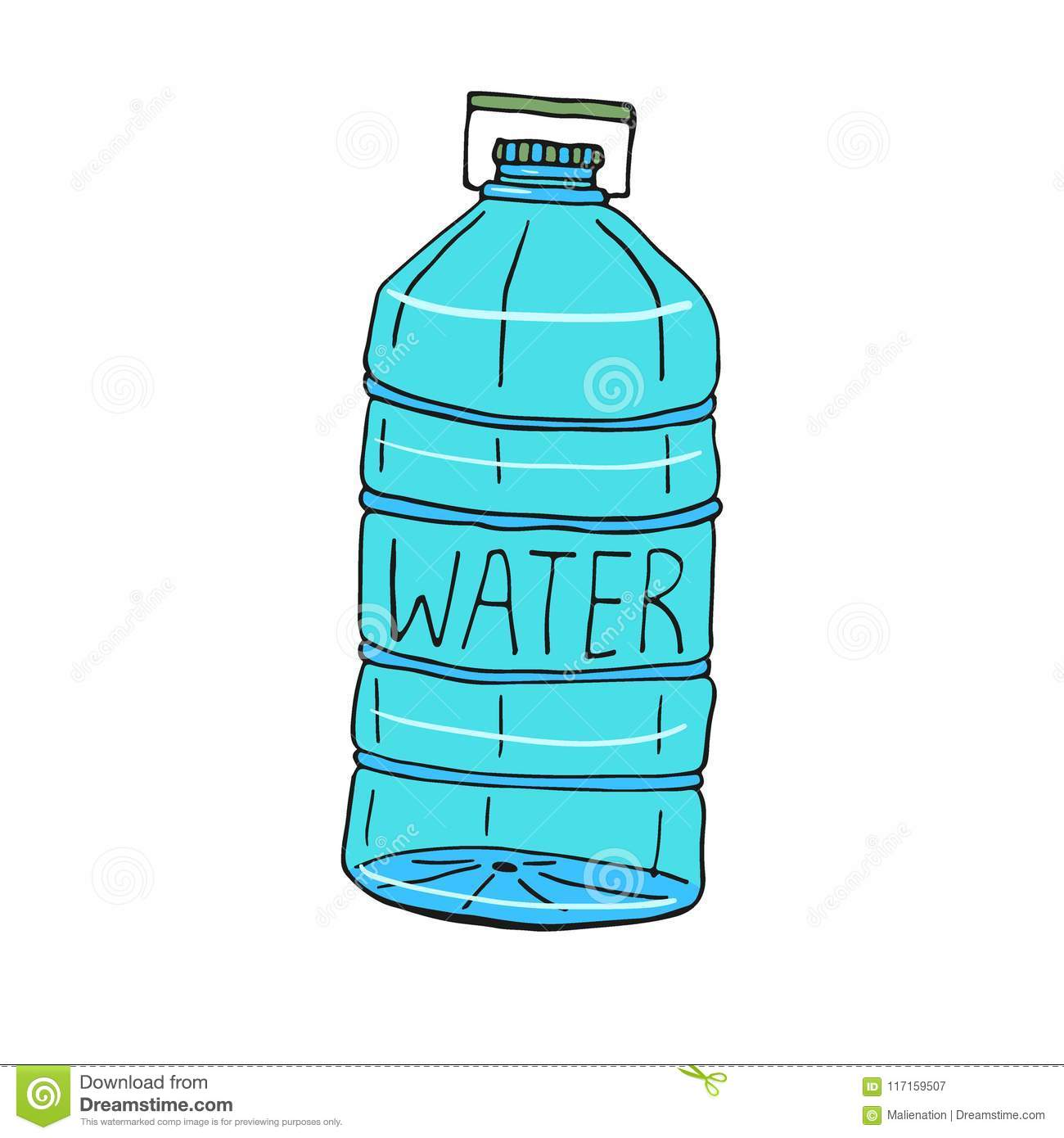 Water bottle illustration hand drawn icon vector design