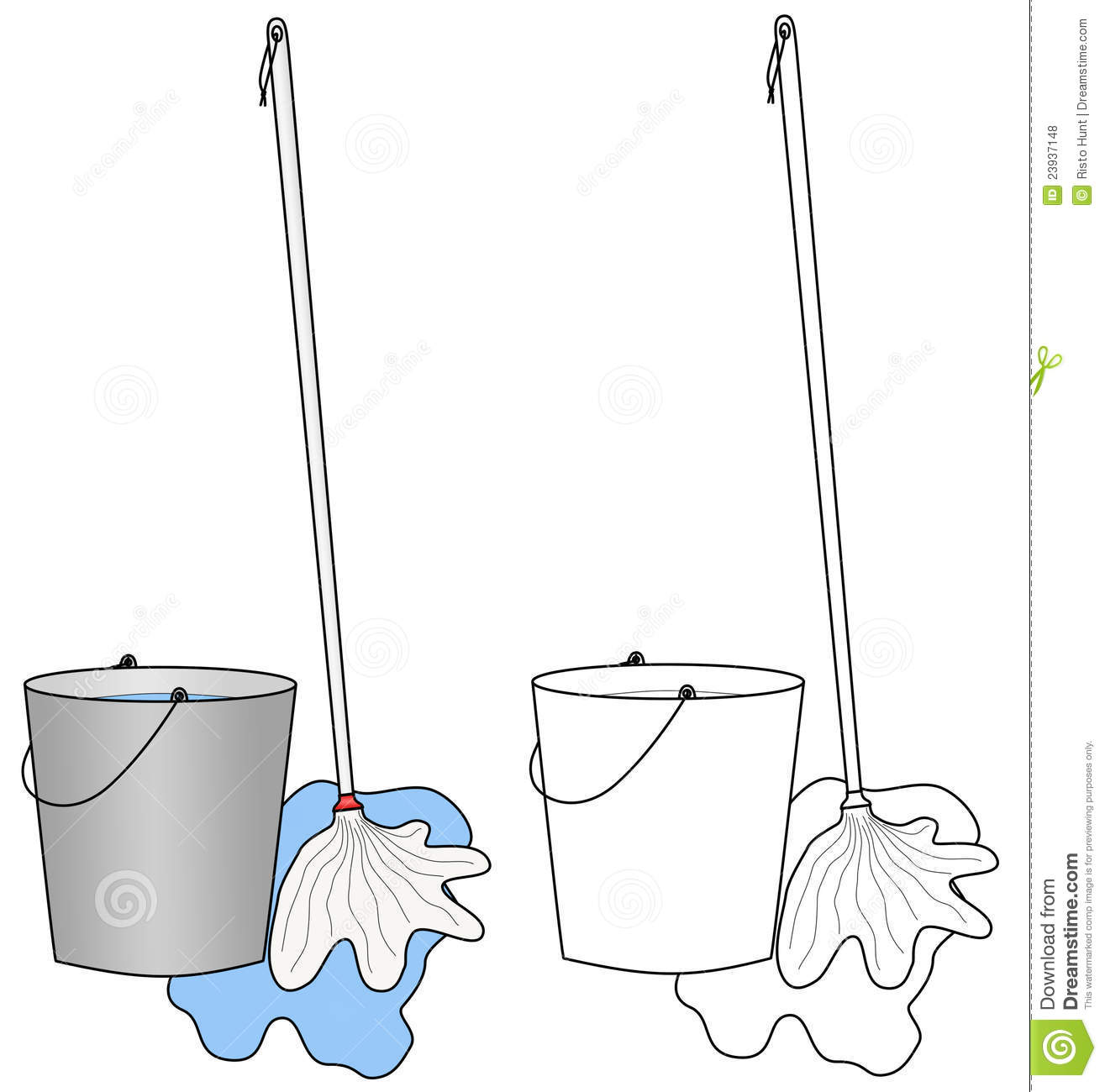 Water Bucket And A Broom Or Mop Royalty Free Stock Photos