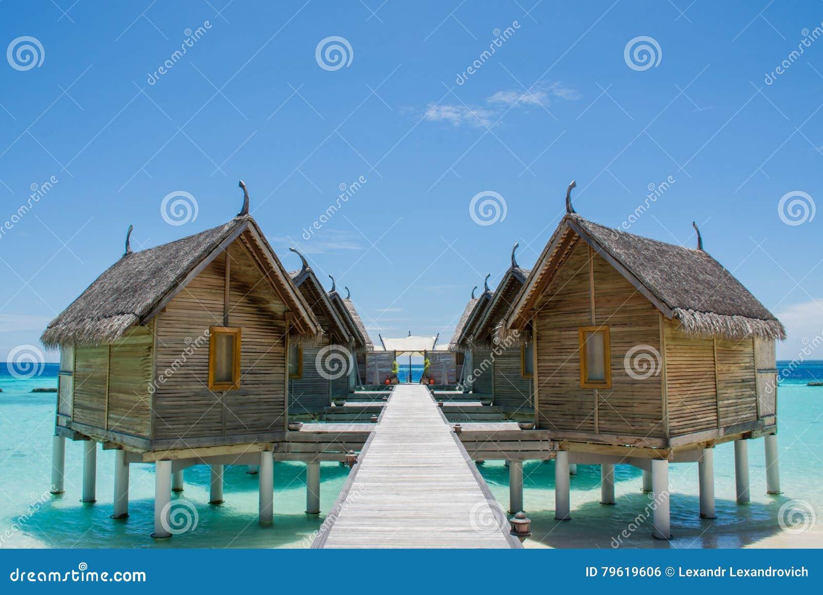Water bungalos at the topical beach at Maldives
