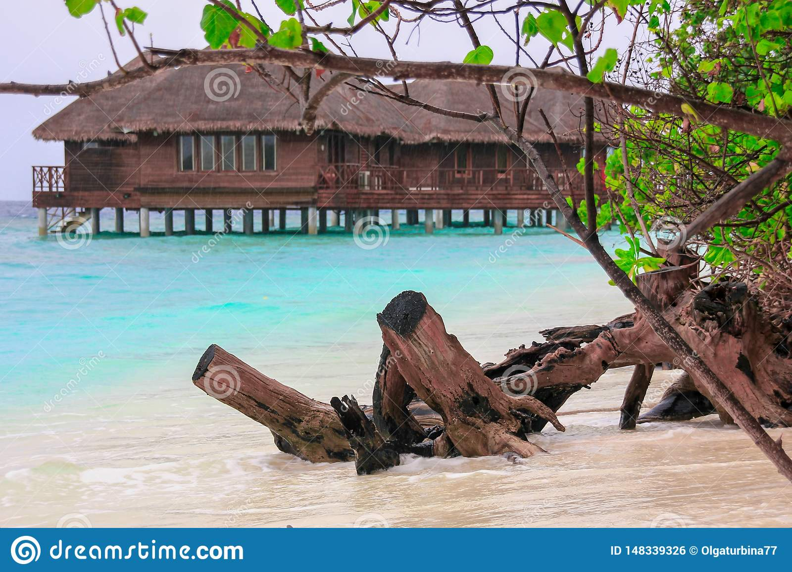 Water  bungalow house in blue lagoon on tropical island